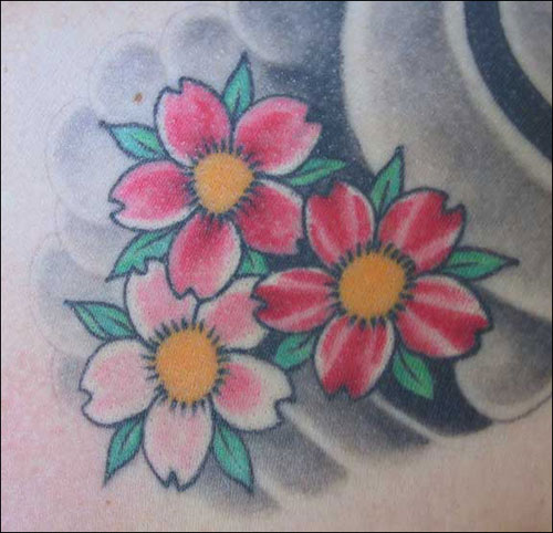 Red And Pink Cherry Blossom Flowers Tattoo