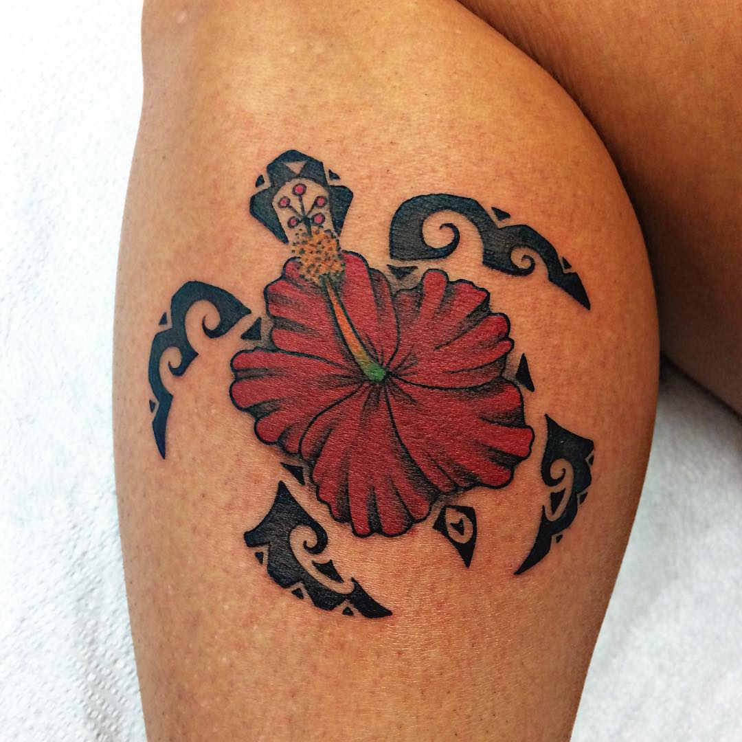Red Hibiscus With Tribal Turtle Tattoo