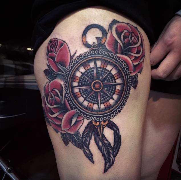 Compass Tattoo Images & Designs