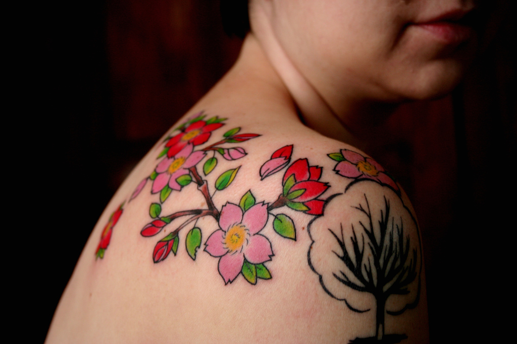 Right Shoulder Cherry Blossom Tattoo