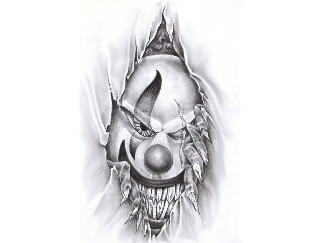 Ripped Skin Evil Clown Tattoo Design