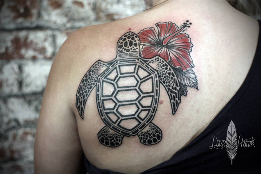Sea Turtle And Hibiscus Tattoo On Girl Back
