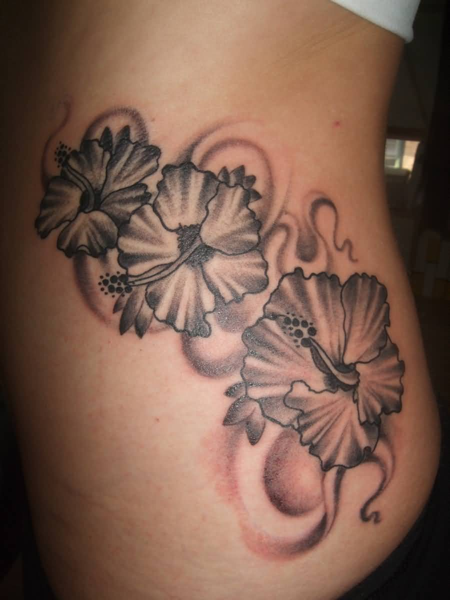 Simple Grey Hibiscus Flowers Tattoo For Girls