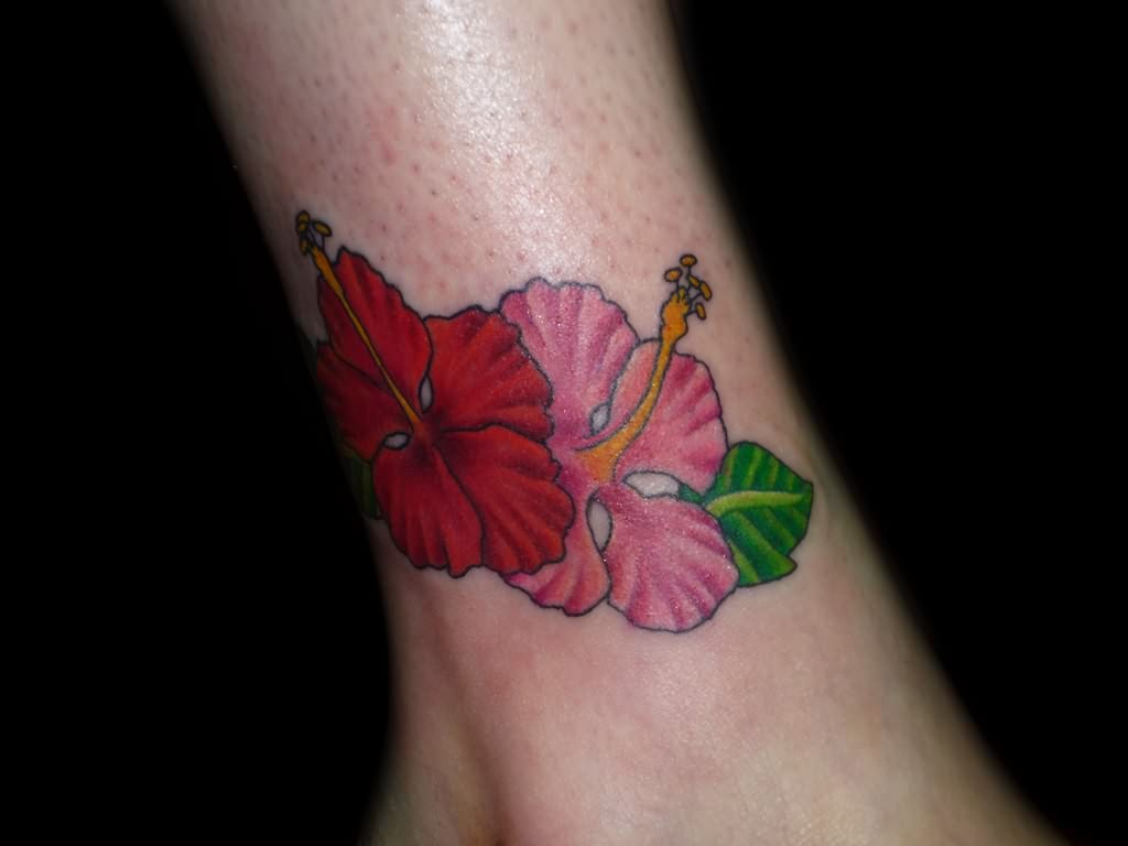 Hibiscus Tattoo For Ankle