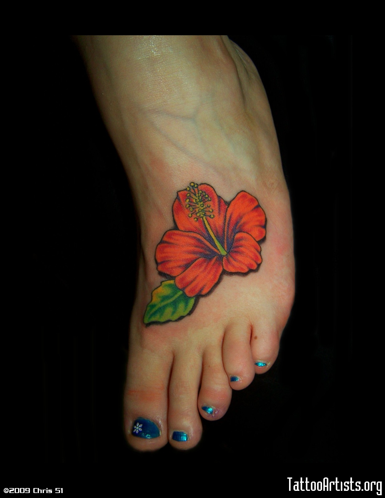 Small Red Hibiscus Tattoo On Foot For Girls