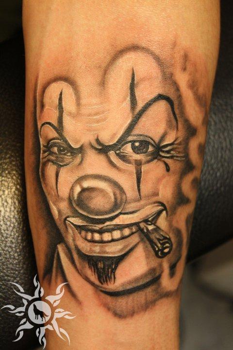 Smoking Clown Head Tattoo