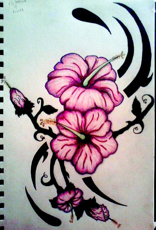 Tribal Hibiscus Flowers Tattoo Design By KDLynn