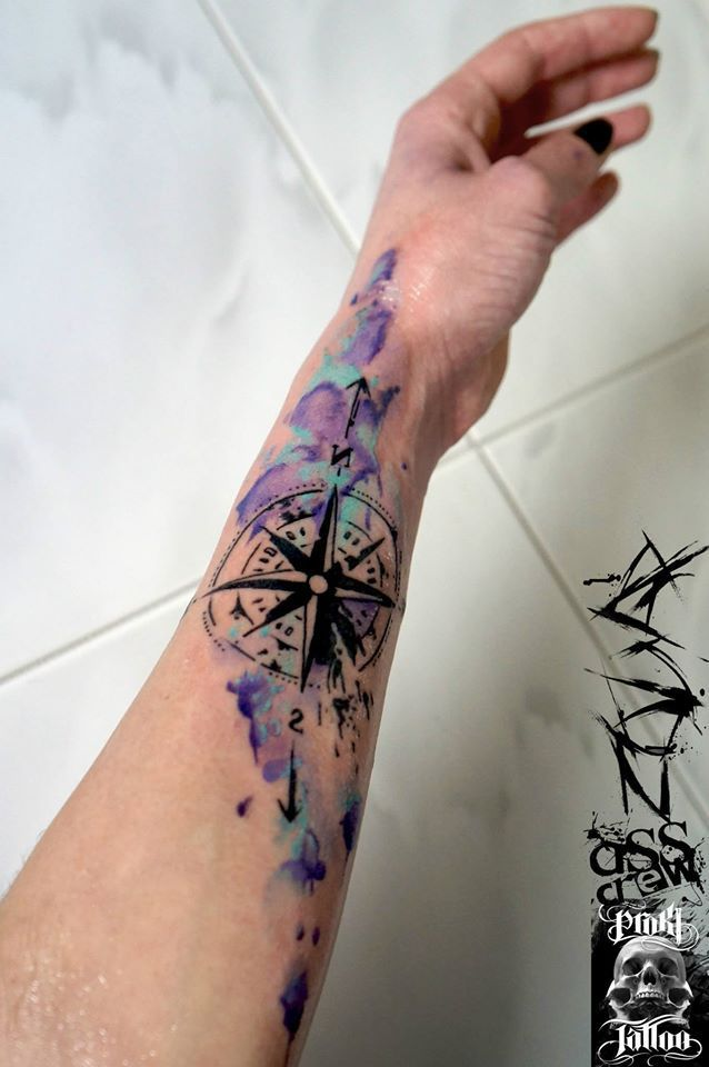 Watercolor Compass Tattoo On Left Arm