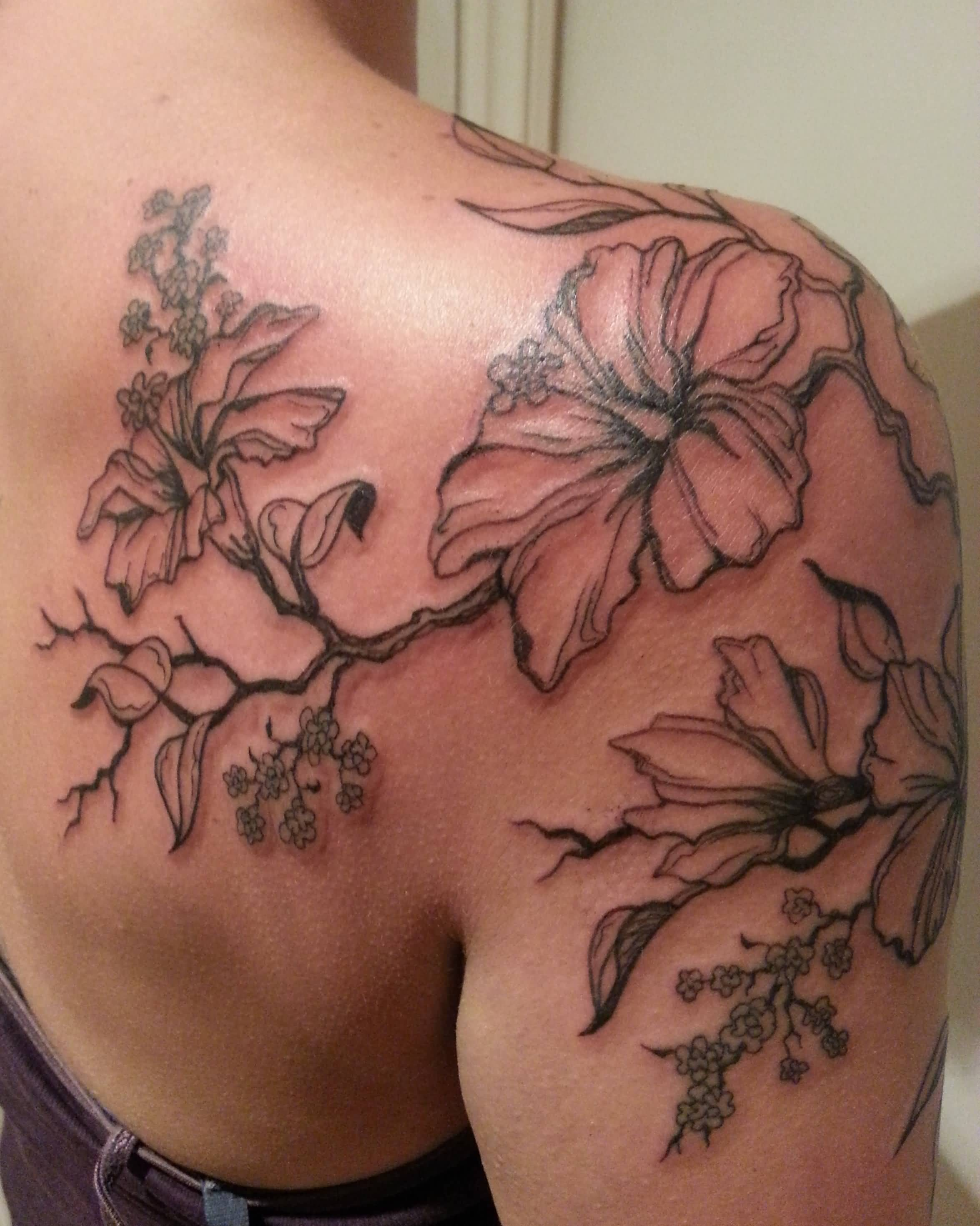 Wonderful Hibiscus Tattoo On Shoulder For Women