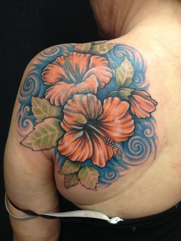 Wonderful Orange Hibiscus Tattoo On Back Shoulder