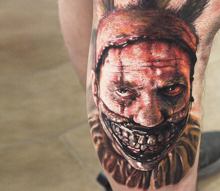 Zombie Clown Head Tattoo