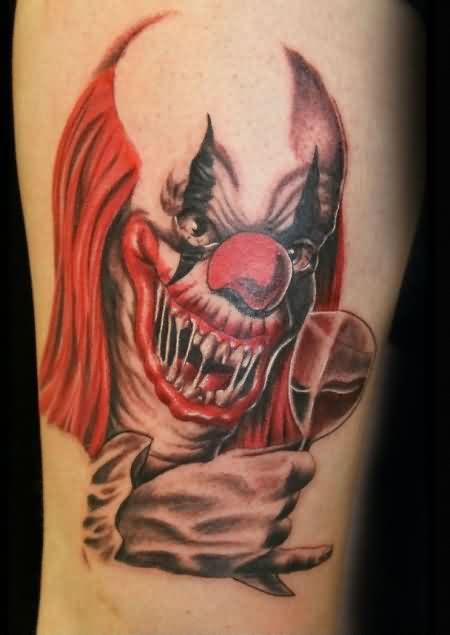 Zombie Clown Tattoo Design Idea