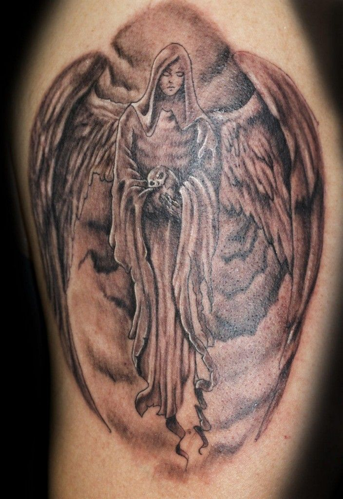 Awesome Grey Ink Angel Girl Tattoo Design
