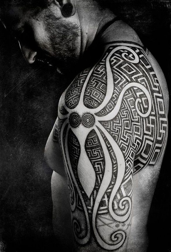 Aztec Octopus Tattoo On Left Shoulder