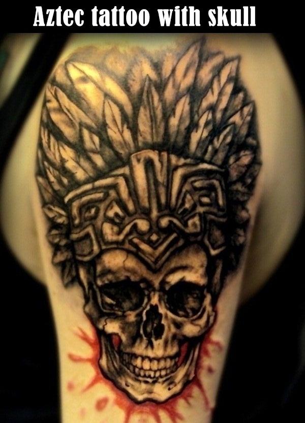 Aztec Skull Tattoo On Left Half Sleeve