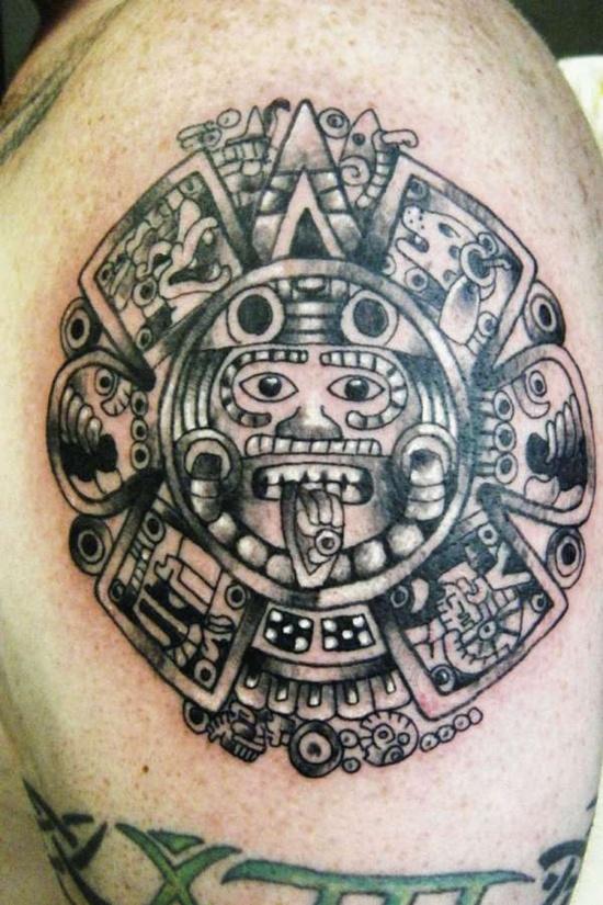 Aztec Sun Tattoo On Man Shoulder