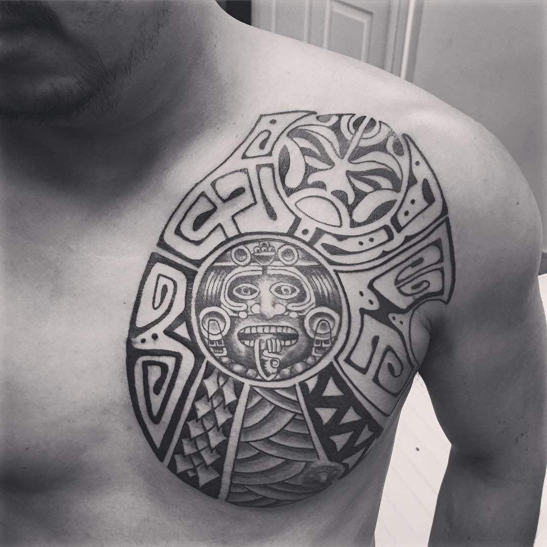 Aztec Tattoo On Man Chest