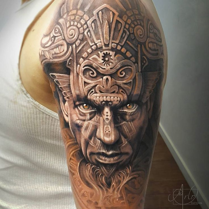 Aztec Tattoo On Man Left Shoulder