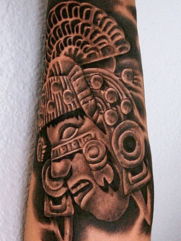 Black And Grey Ink Aztec Tattoo