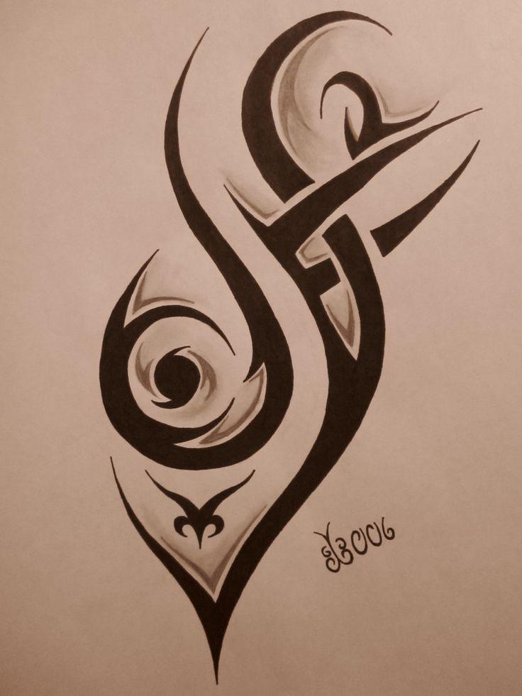 Black Tribal Tattoo Stencil