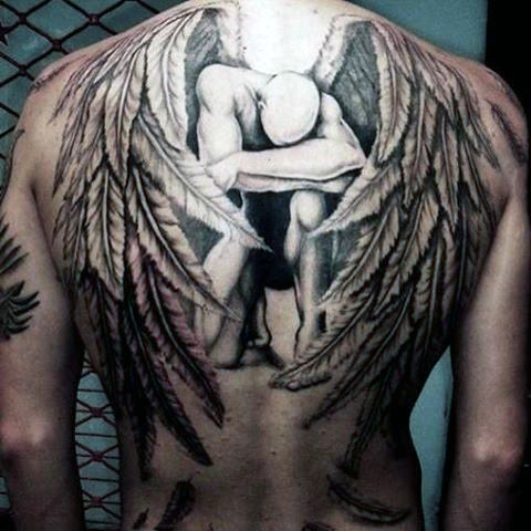 Broken Guardian Angel Tattoo On Full Back