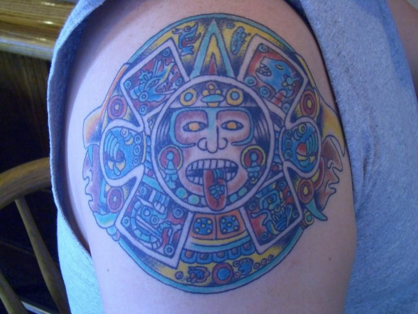 Color Ink Aztec Tattoo On Shoulder