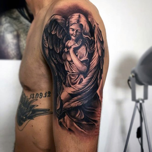 Dark Ink Guardian Angel Tattoo On Man Left Half Sleeve