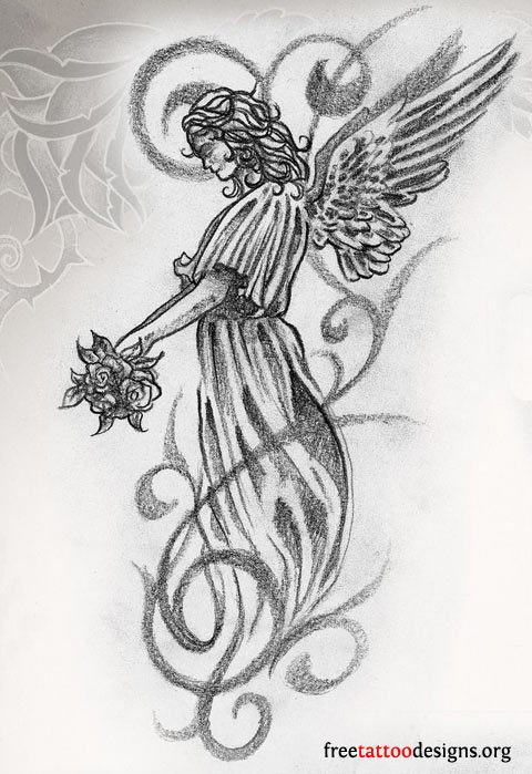 Feminine Angel Girl Tattoo Design