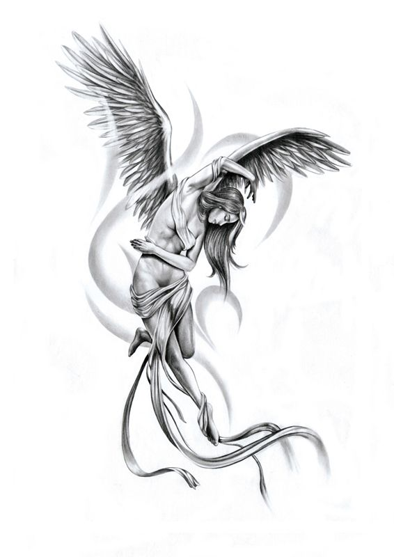 Flying Angel Girl Tattoo Design