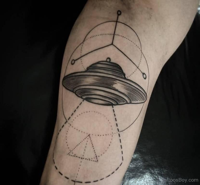 Geometric Alien Spaceship Tattoo On Forearm