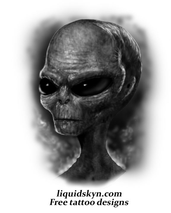Grey Alien Skull Tattoo Design
