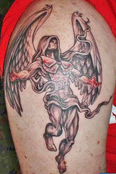 Grey Ink Angel Tattoo On Right Shoulder