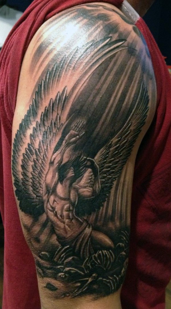 Grey Ink Angel Tattoo Tattoo On Right Half Sleeve