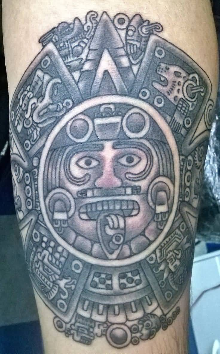 Grey Ink Aztec Tattoo On Sleeve