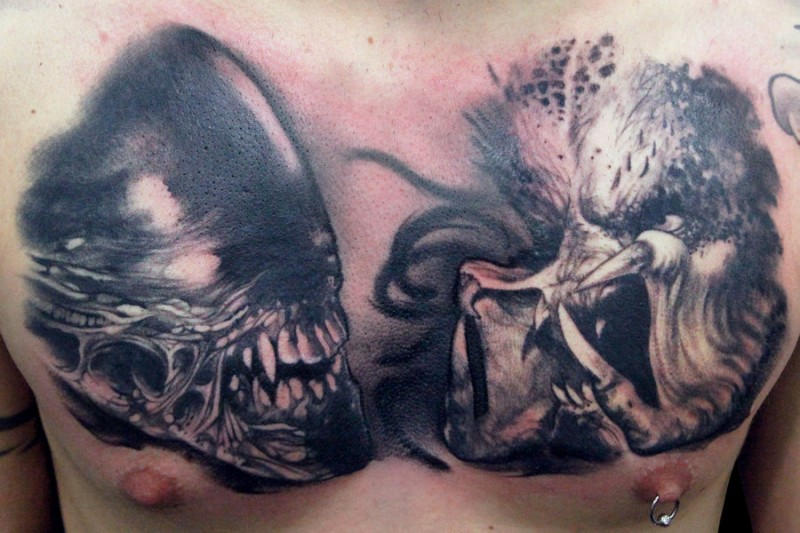 Alien tattoo images designs for Black and grey chest tattoos