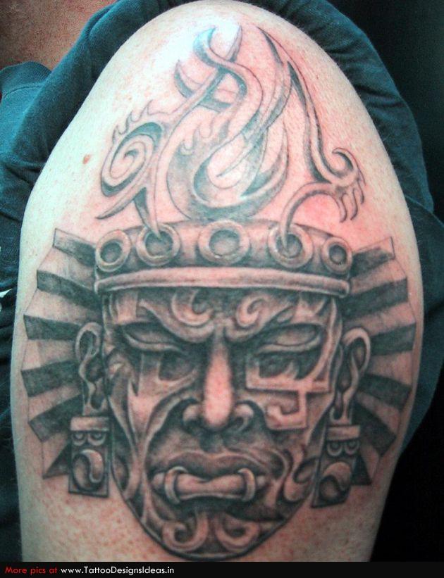 Left Shoulder Aztec Tattoo Idea