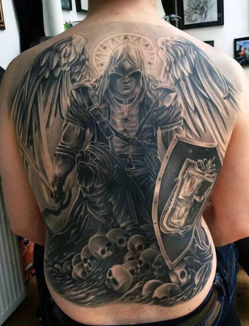Man Full Back Angel Tattoo