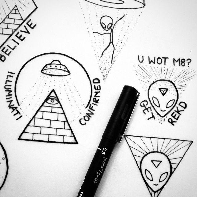 Nice Alien Tattoo Design Idea