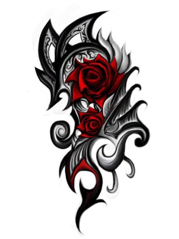 Tribal heart and rose designs