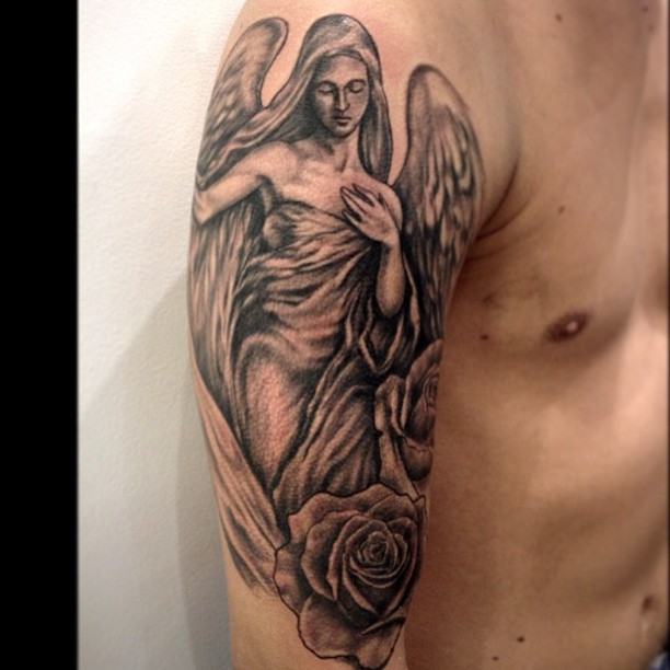 Half Sleeve Angel Tattoos For Men Angel Tattoo Images &a...