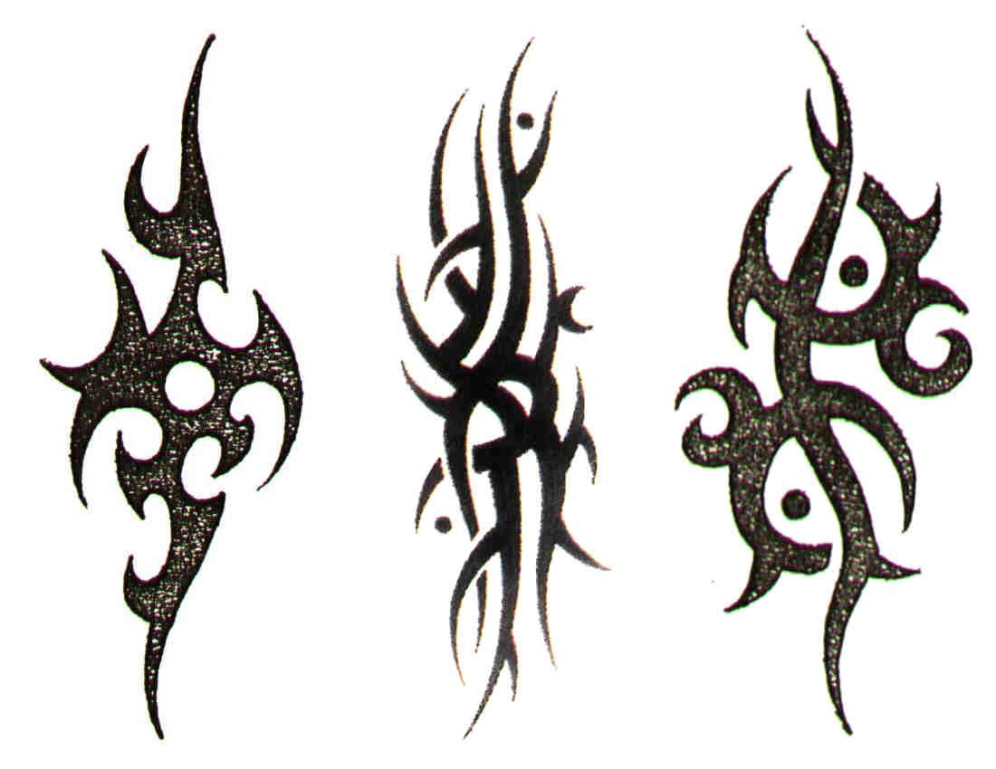 three different tribal tattoo designs