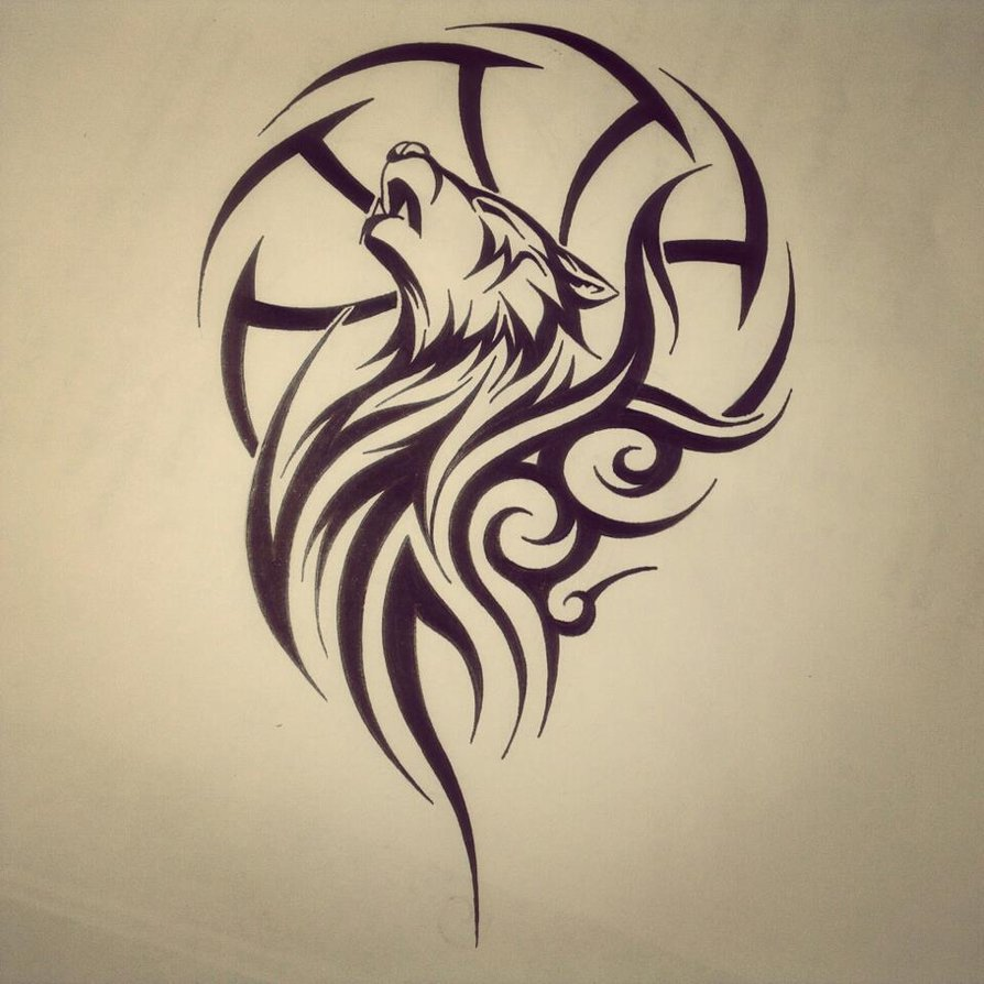 Tribal Howling Wolf Tattoo Design