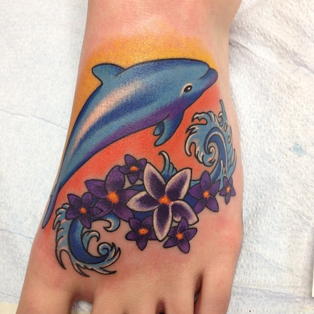 Beautiful Flowers And Dolphin Tattoo On Left Foot