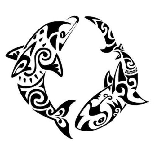 Black Dolphin Tattoos Design