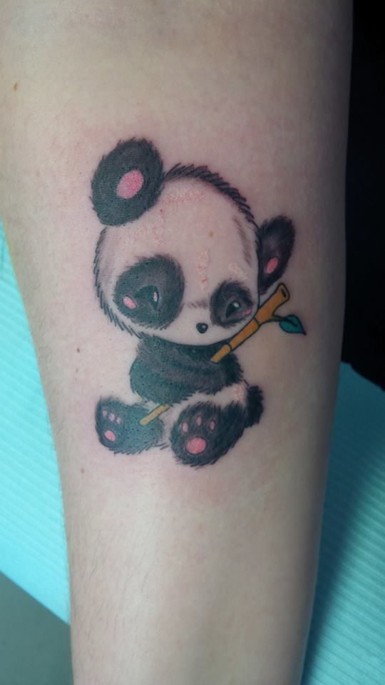 Cute Baby Panda With Bamboo Stick In Hand Tattoo On Arm