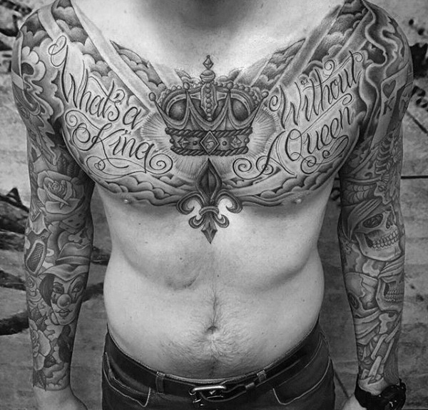 Crown Tattoo On Chest For Men