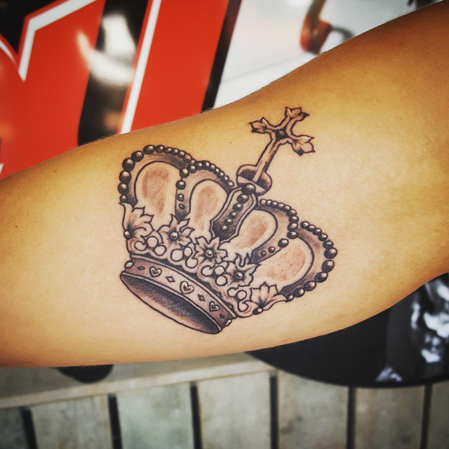 Grey Ink Crown Tattoo On Arm Sleeve