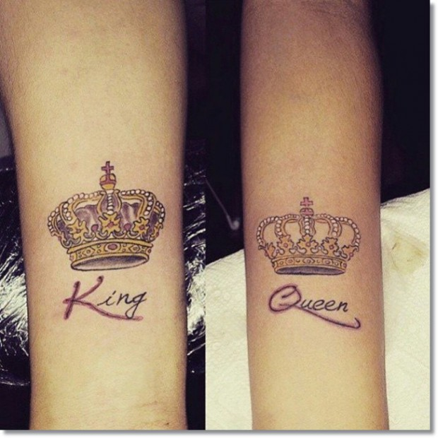 King And Queen Crown Tattoos On Arm
