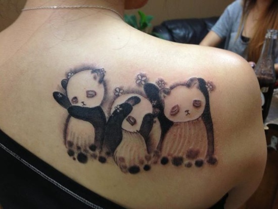 Panda Tattoo On Right Back Shoulder for Girls