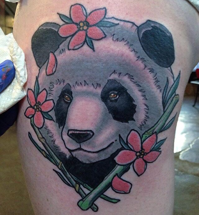 Panda Tattoo On Side Leg by Andy Robinson